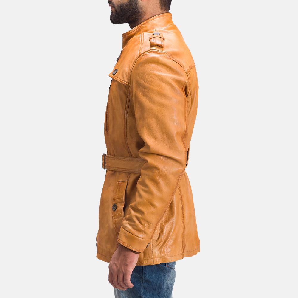 Mens Hunter Tan Brown Fur Leather Jacket 4