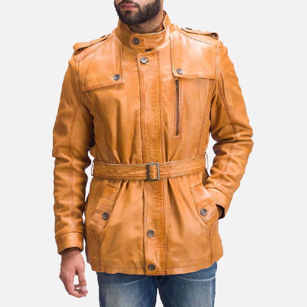 Mens Hunter Tan Brown Fur Leather Jacket 6