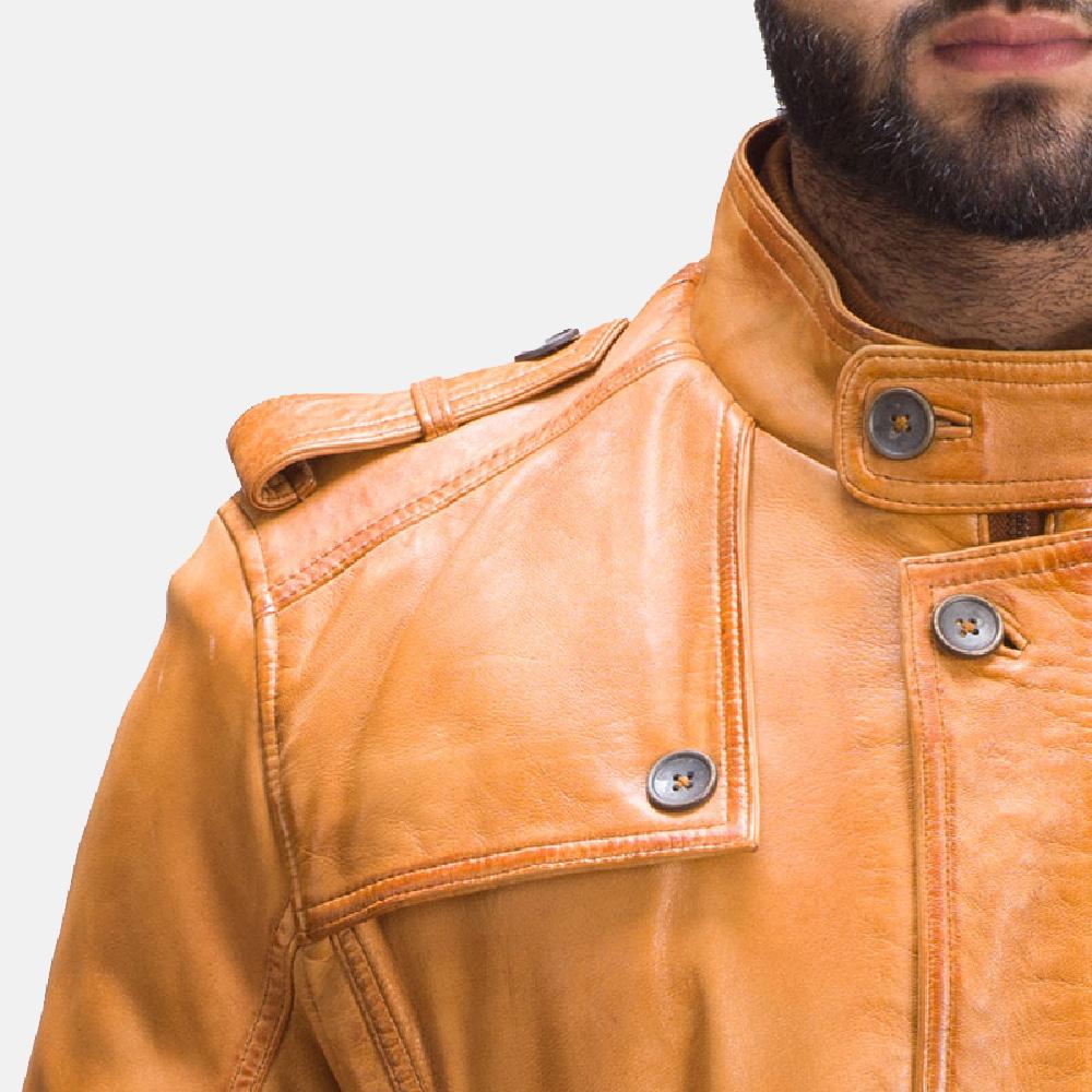 Mens Hunter Tan Brown Fur Leather Jacket 7