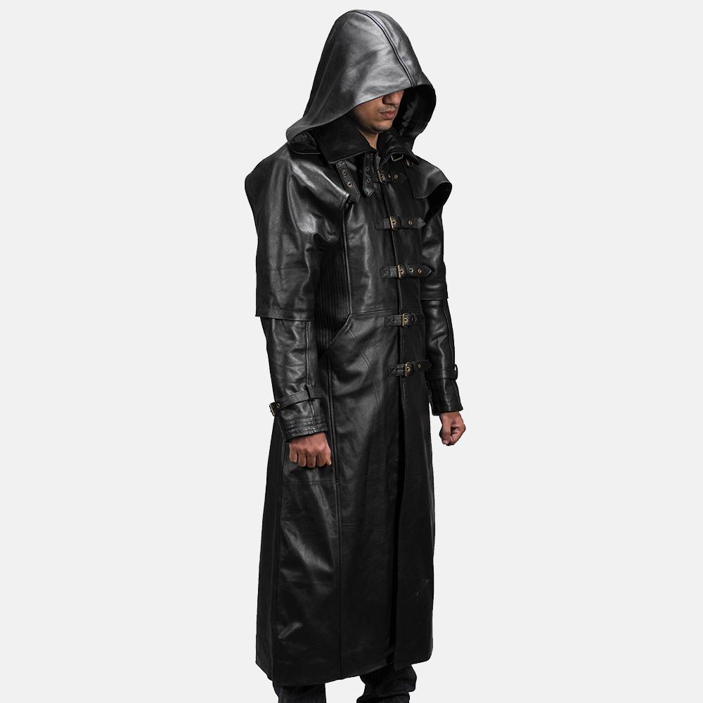Mens Huntsman Black Hooded Leather Trench Coat 3