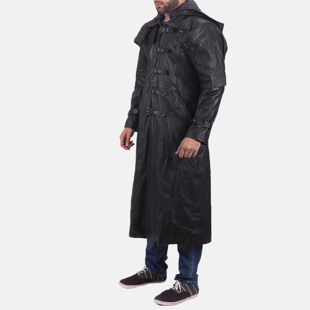 Mens Huntsman Black Hooded Leather Trench Coat 2