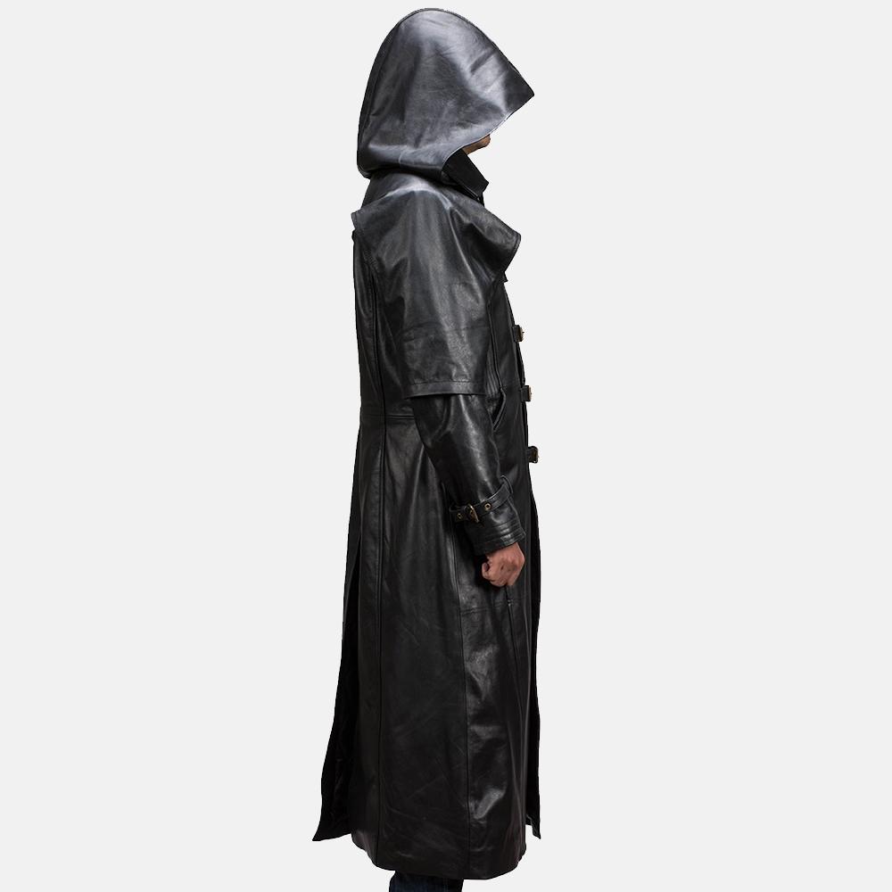 Mens Huntsman Black Hooded Leather Trench Coat 4