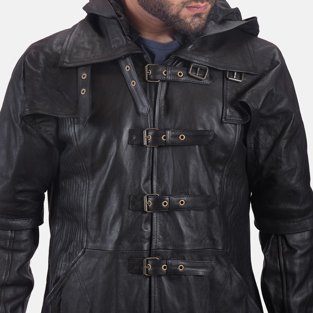 Mens Huntsman Black Hooded Leather Trench Coat 6