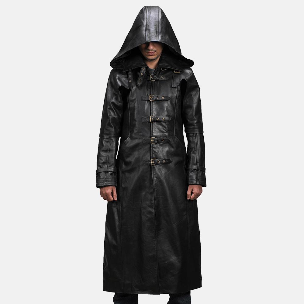 Mens Huntsman Black Hooded Leather Trench Coat 1