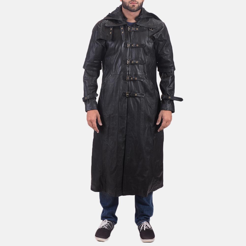 Mens Huntsman Black Hooded Leather Trench Coat 5