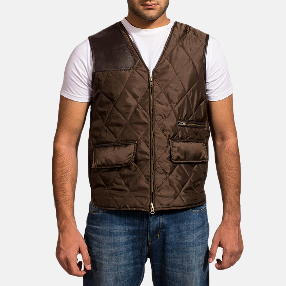 Mens Hybridge Quilted Brown Vest 1