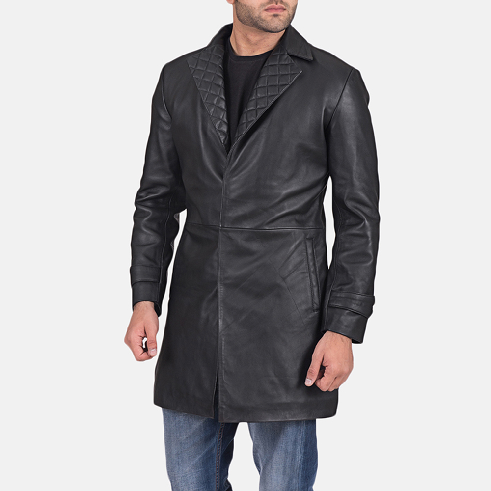 Mens Infinity Black Leather Coat 2
