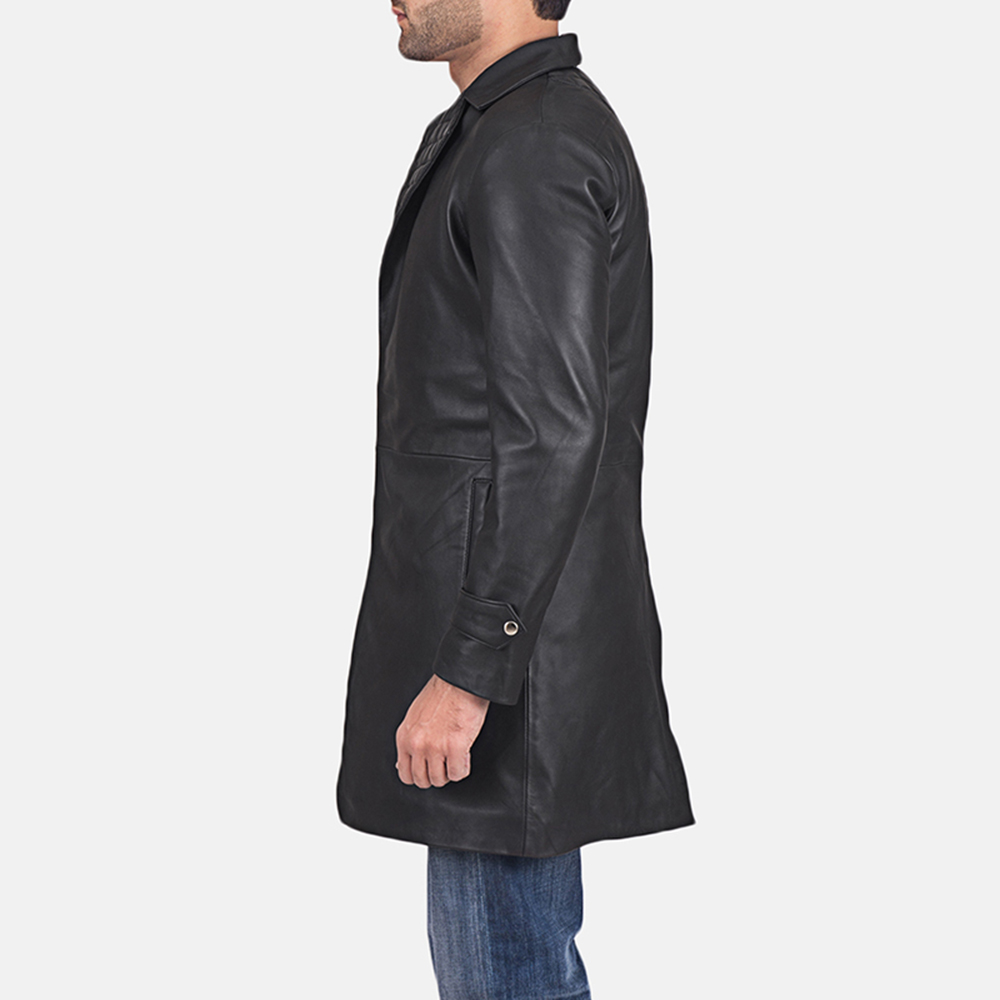 Mens Infinity Black Leather Coat 4