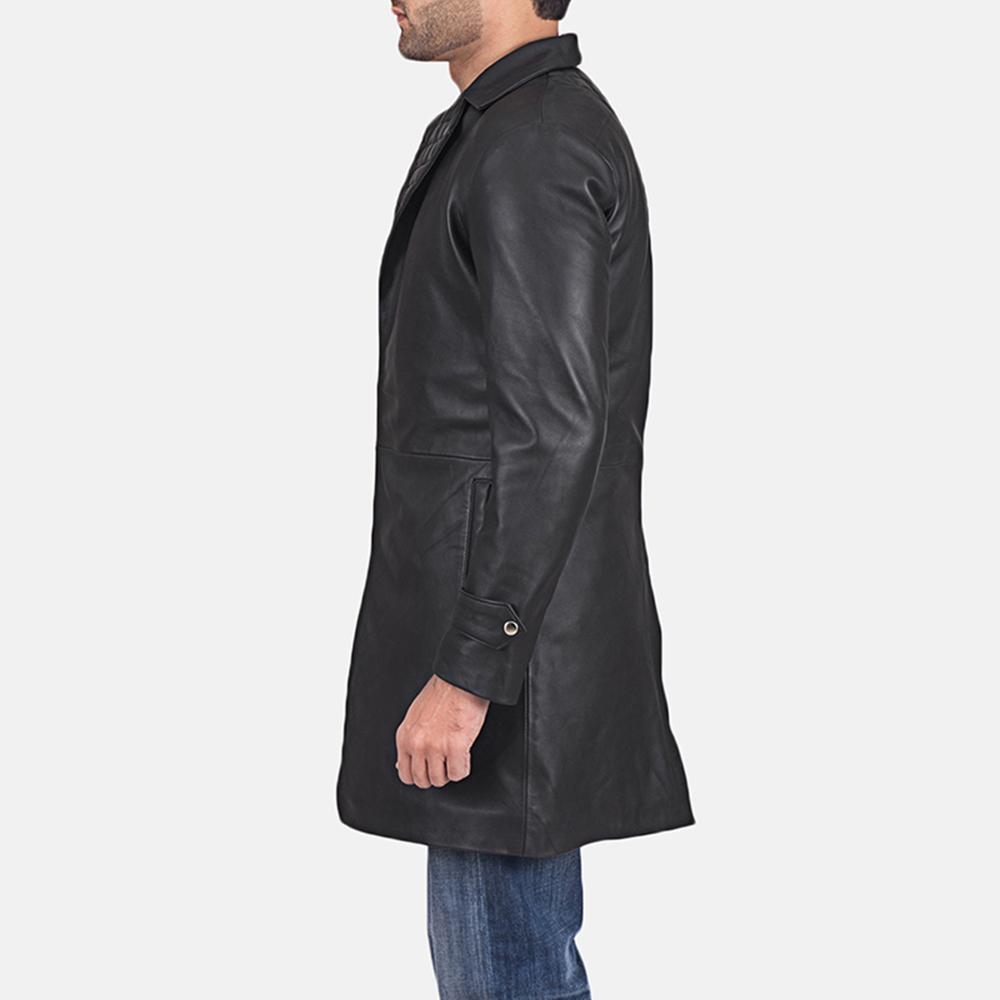 Mens Infinity Black Leather Coat 4