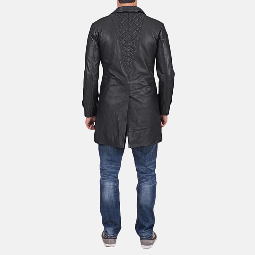 Mens Infinity Black Leather Coat 5