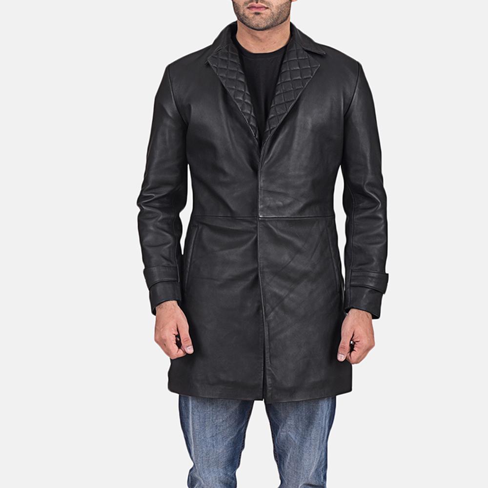 Mens Infinity Black Leather Coat 1