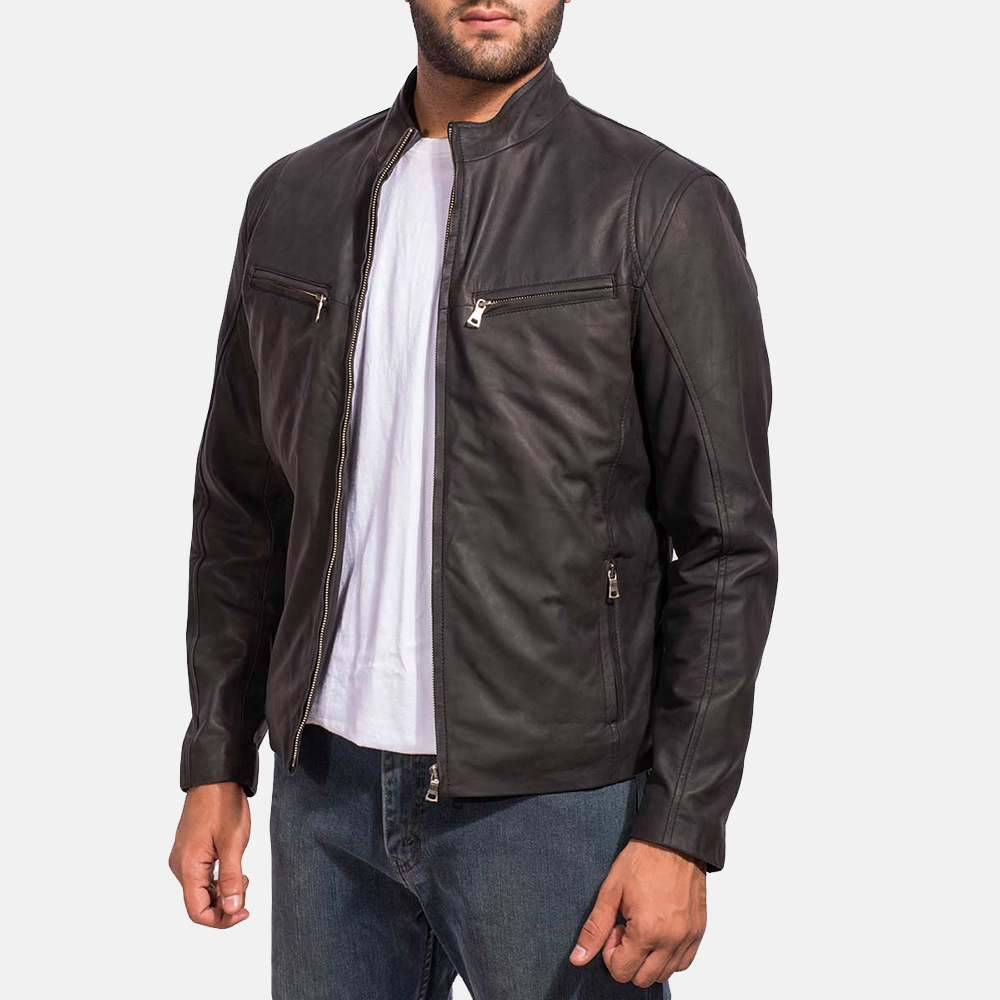 Mens Ionic Black Leather Jacket 2