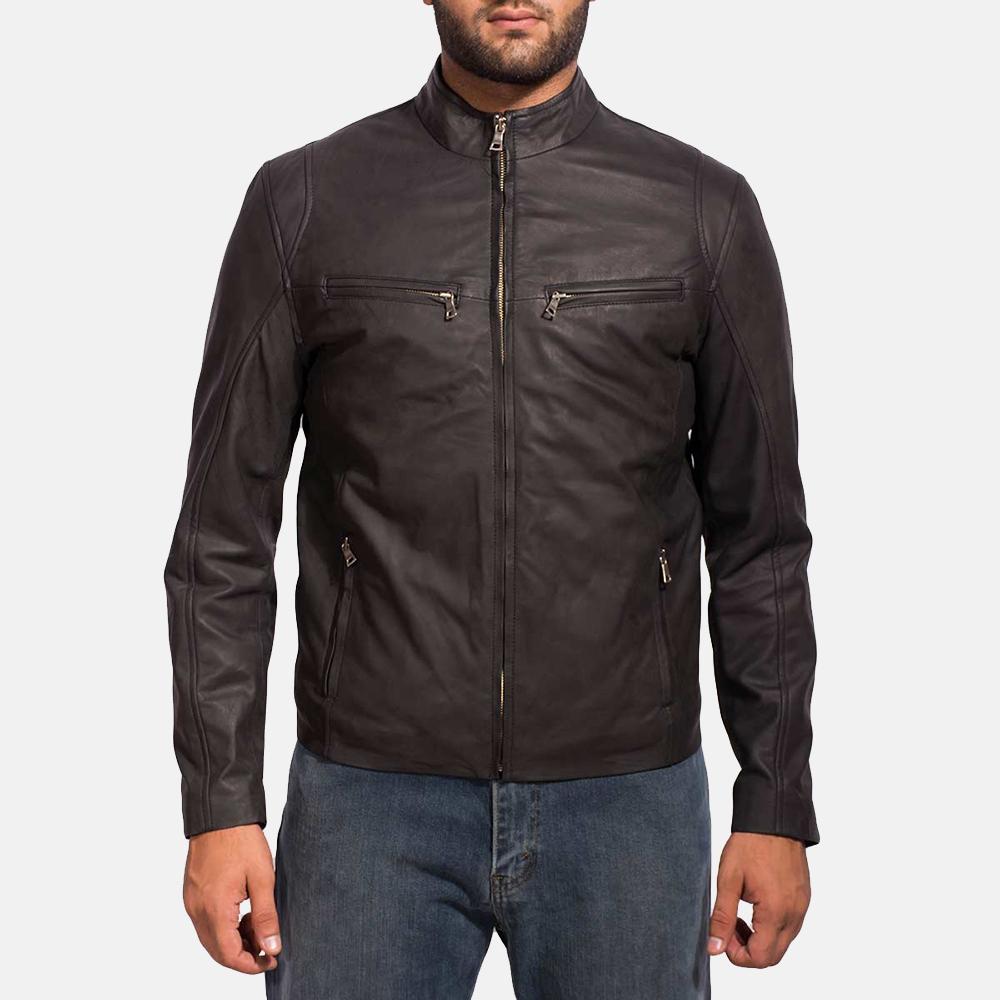 Mens Ionic Black Leather Jacket 6