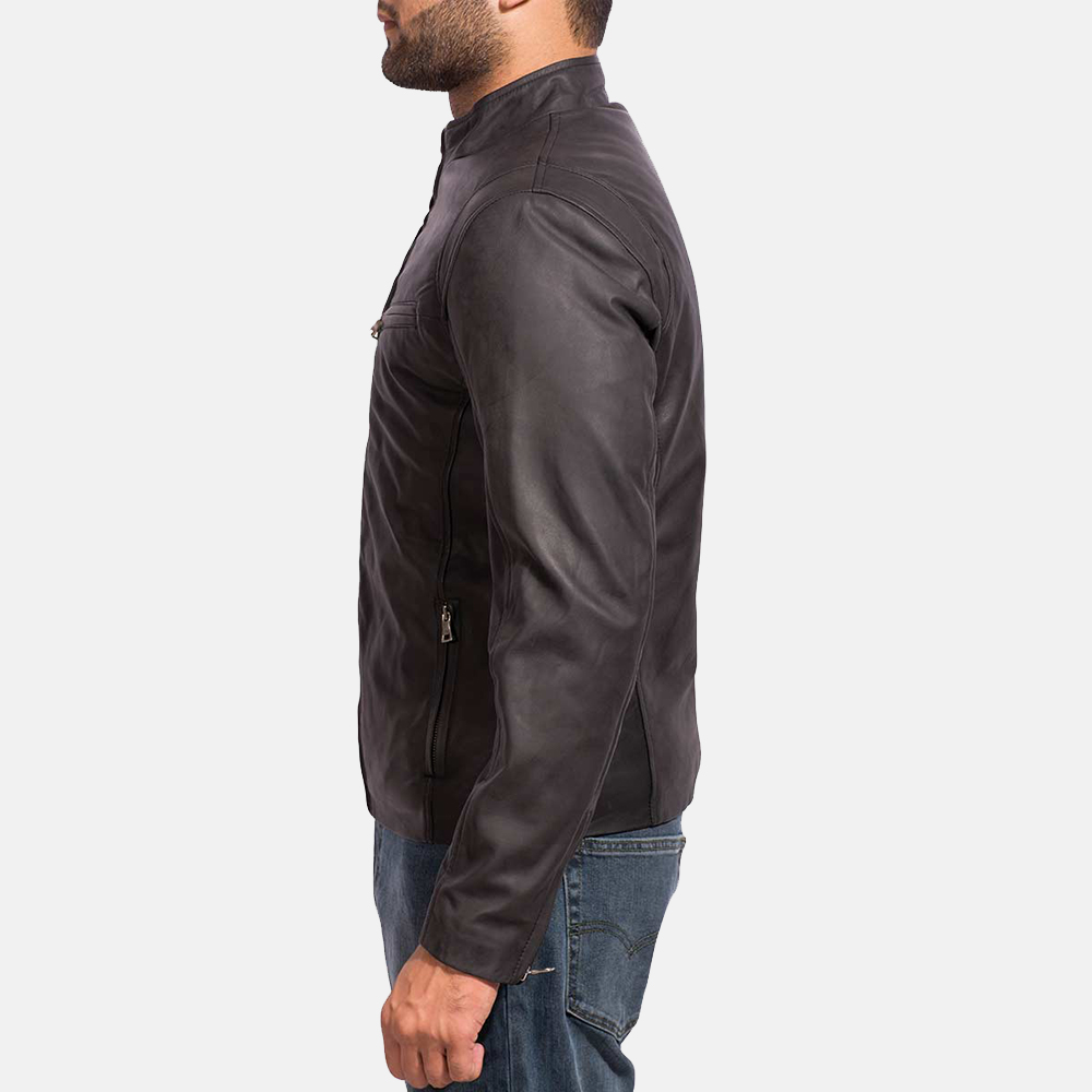 Mens Ionic Black Leather Jacket 4