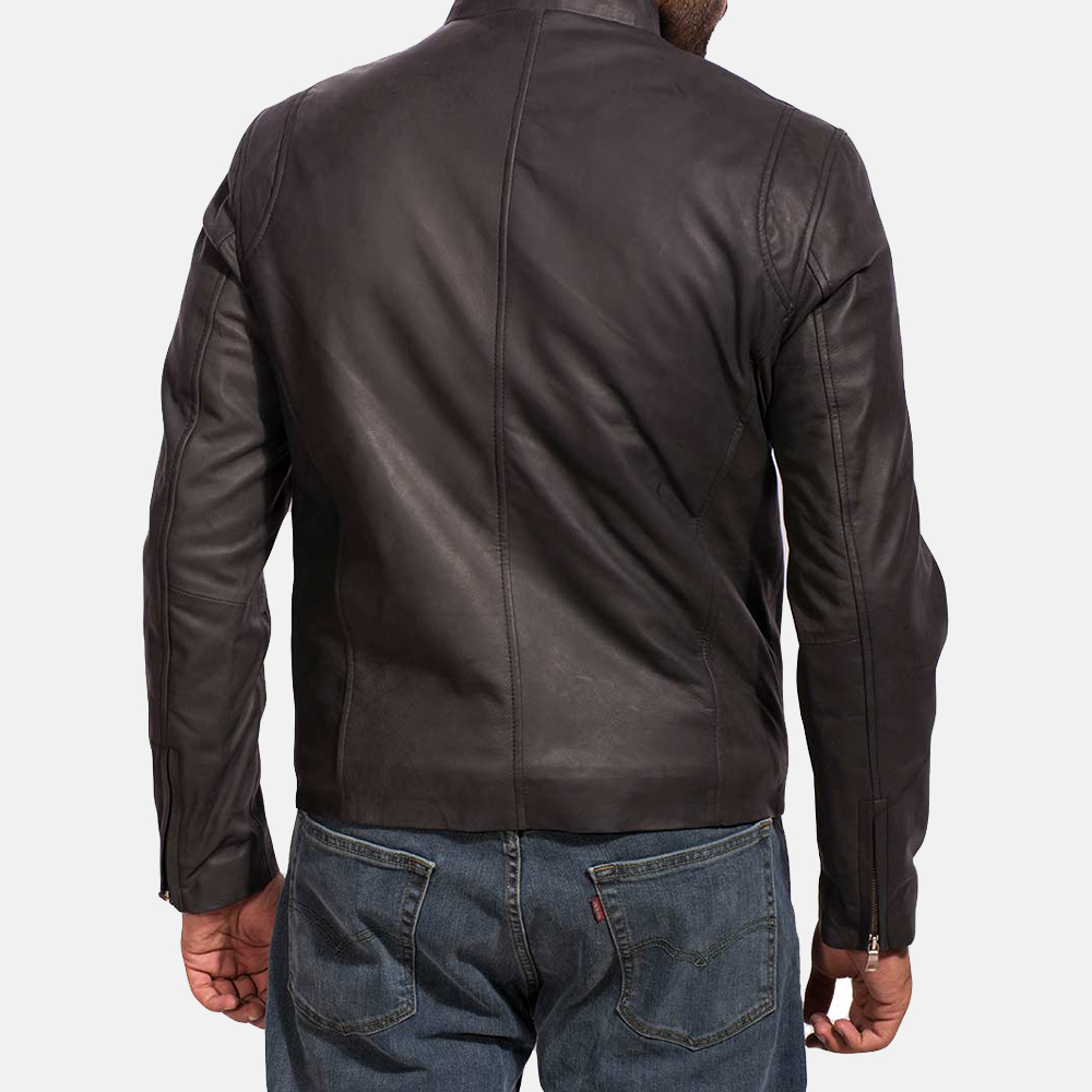 Mens Ionic Black Leather Jacket 5