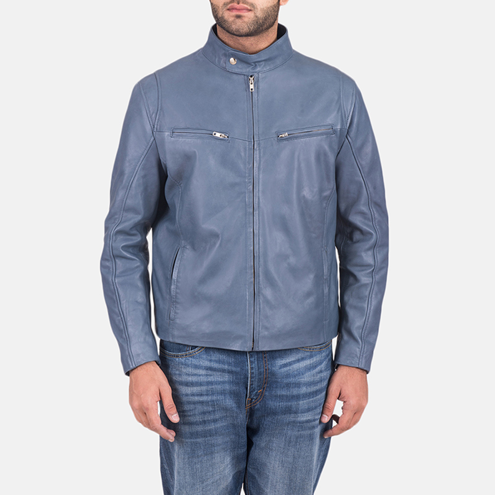 Mens Ionic Blue Leather Jacket 1