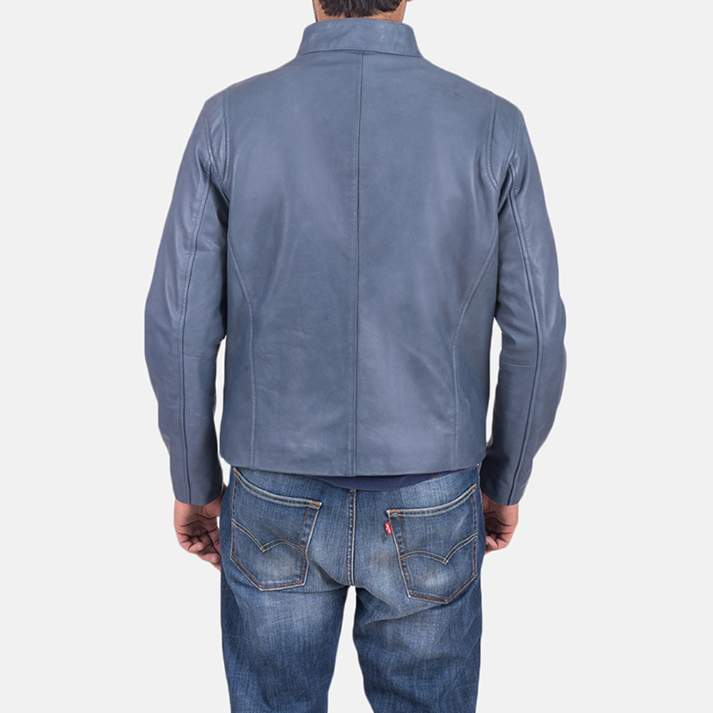 Mens Ionic Blue Leather Jacket 5