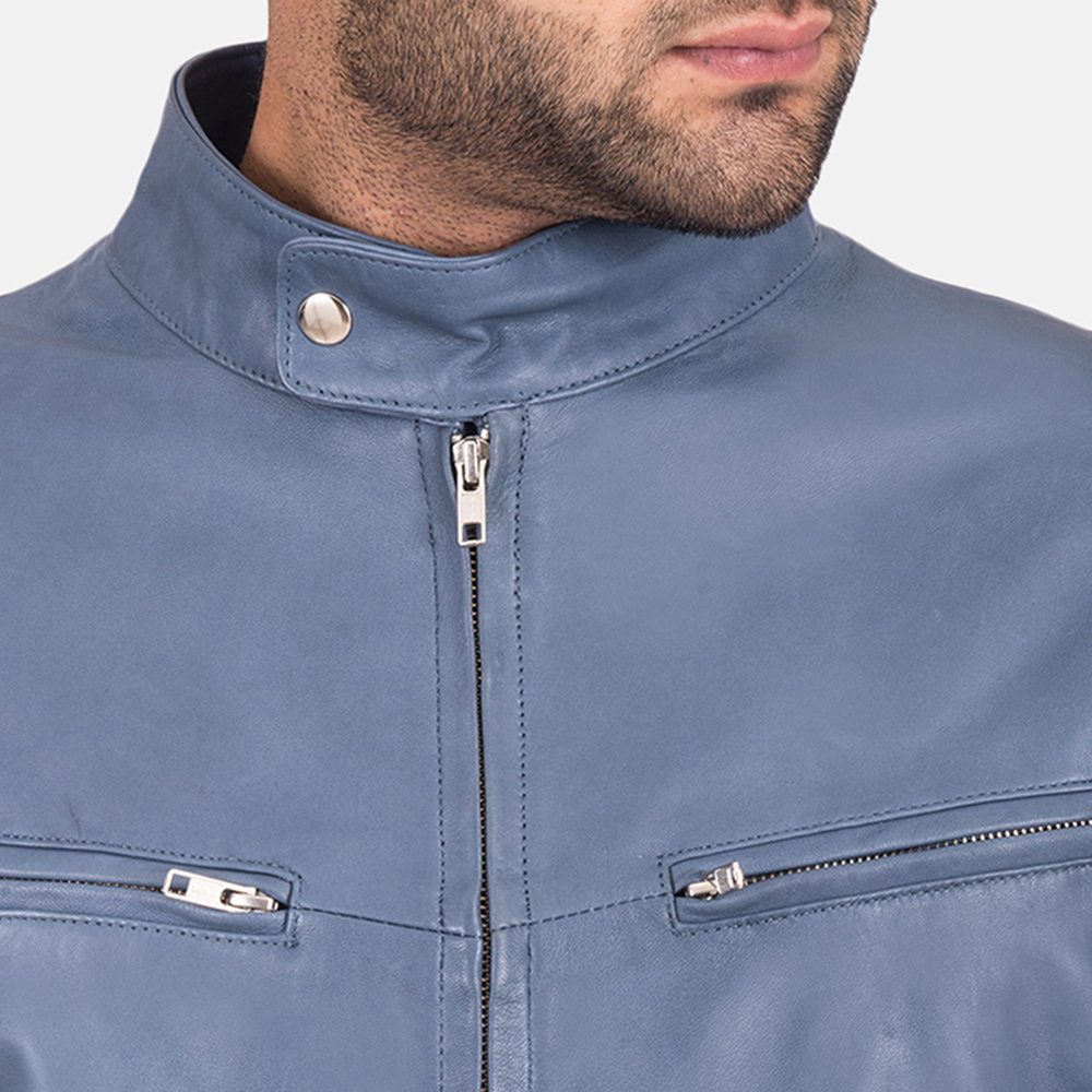 Mens Ionic Blue Leather Jacket 3