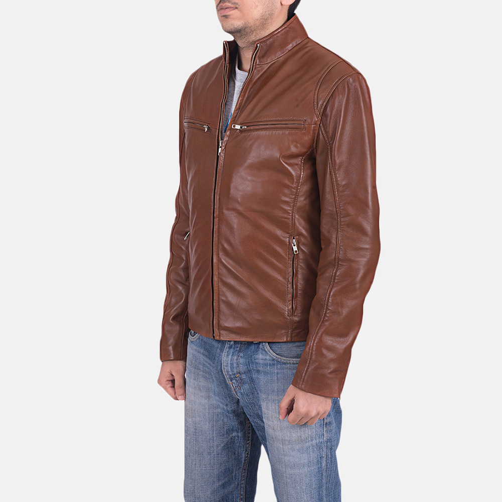 Mens Ionic Brown Leather Jacket 3