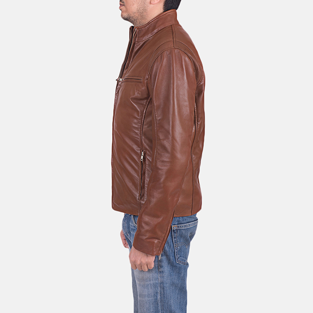 Mens Ionic Brown Leather Jacket 4