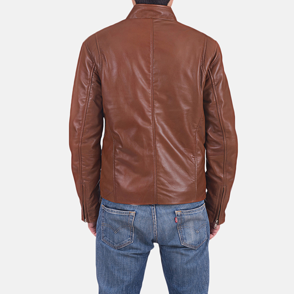 Mens Ionic Brown Leather Jacket 5