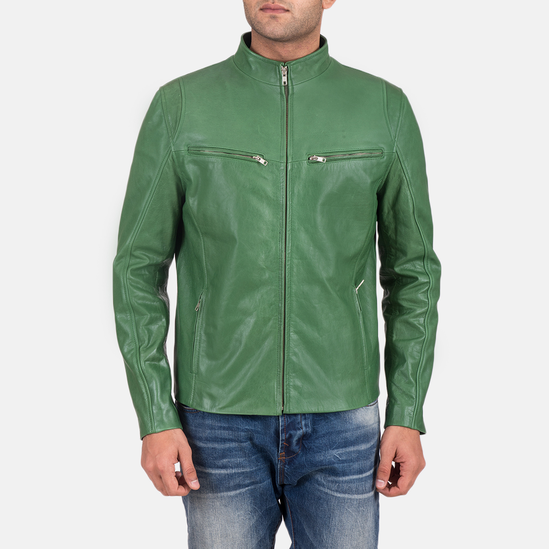 Mens Gatsby Green Leather Biker Jacket 1