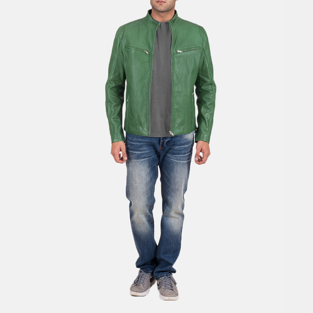Mens Ionic Green Leather Jacket 2