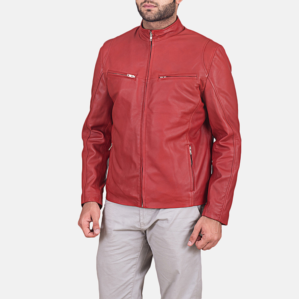 Mens Ionic Red Leather Jacket 2