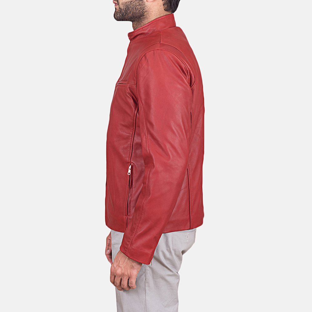 Mens Ionic Red Leather Jacket 4