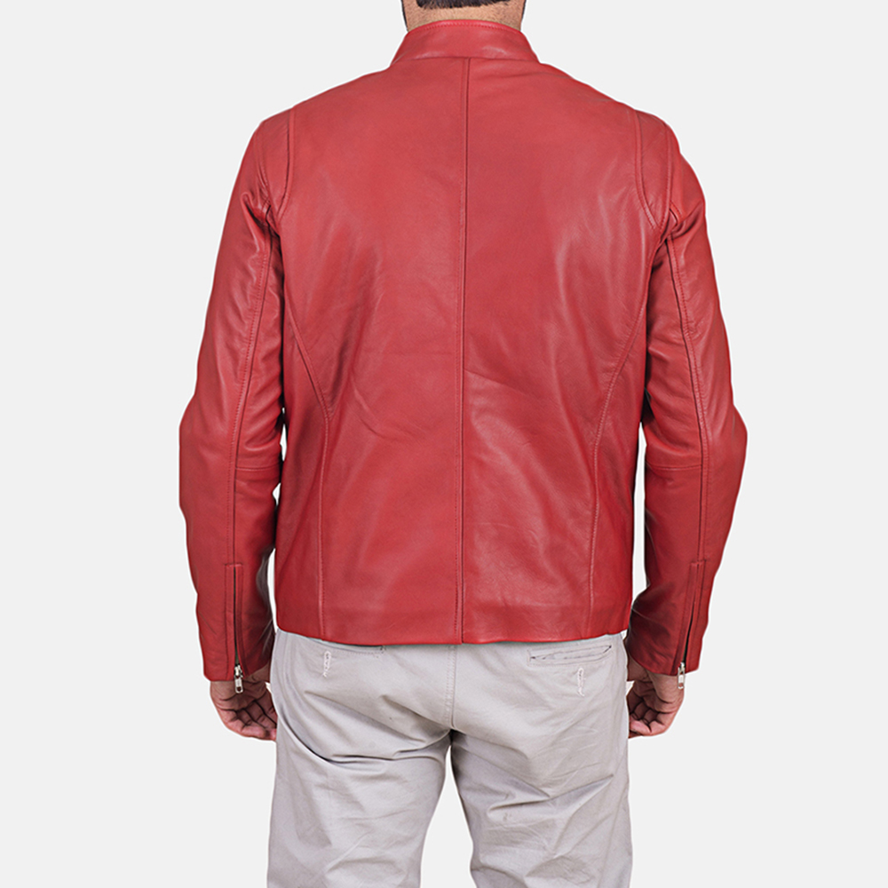 Mens Ionic Red Leather Jacket 5