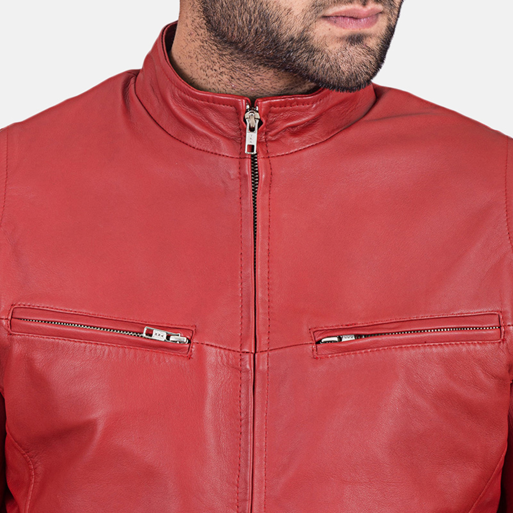 Mens Ionic Red Leather Jacket 3