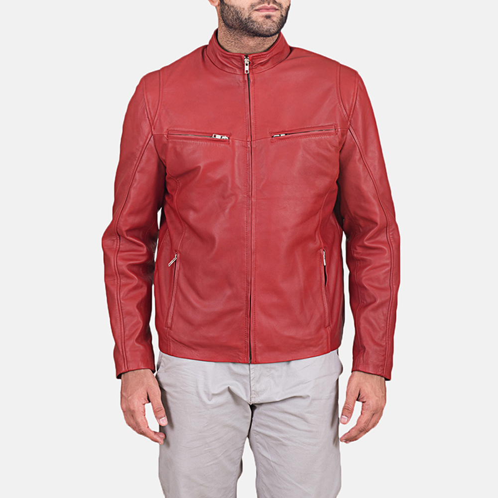 Mens Ionic Red Leather Jacket 1