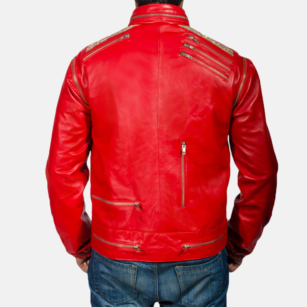 Mens Jagger Red Leather Jacket 3