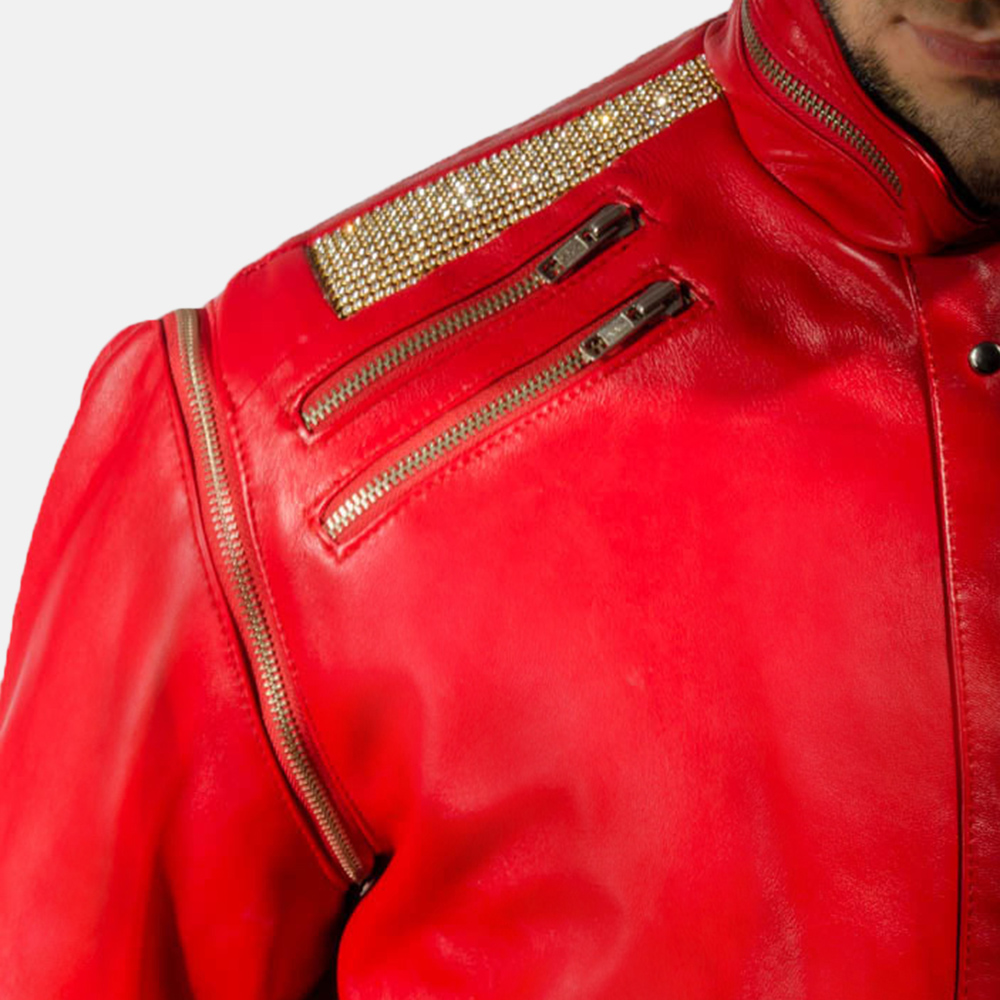 Mens Jagger Red Leather Jacket 5