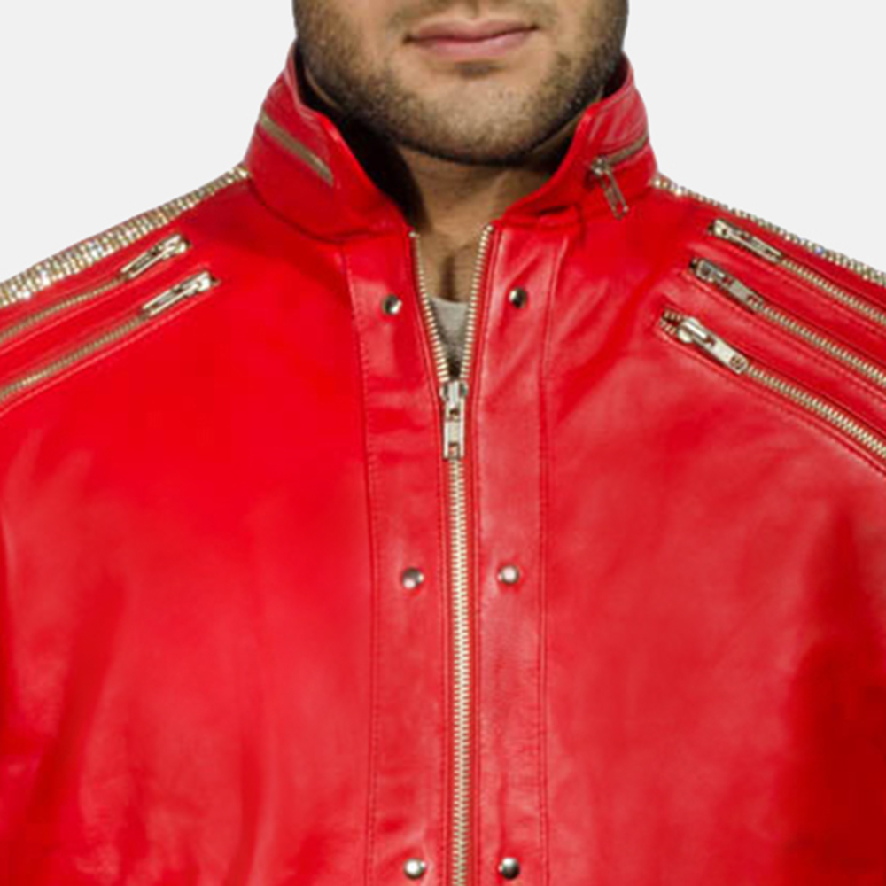 Mens Jagger Red Leather Jacket 6