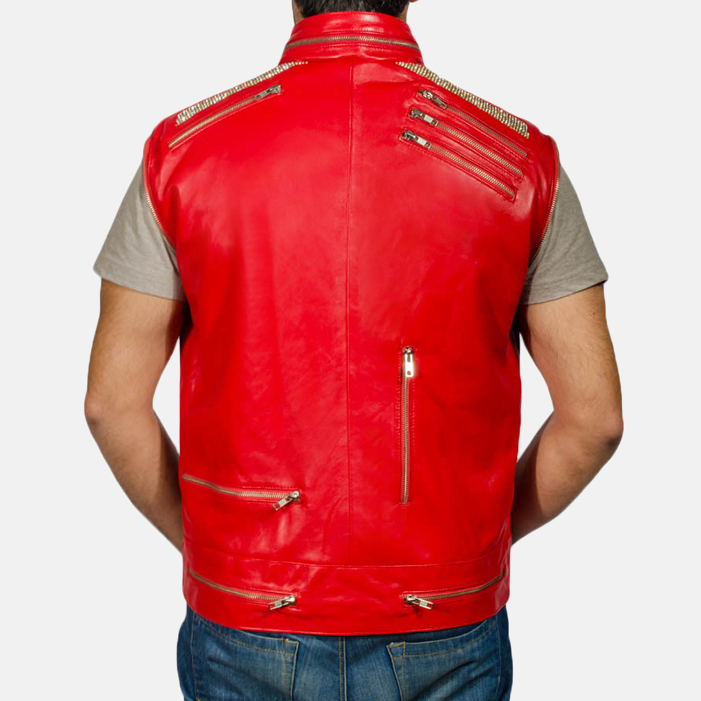 Mens Jagger Red Leather Jacket 7