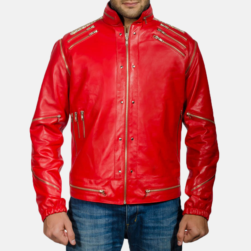 Mens Jagger Red Leather Jacket 8