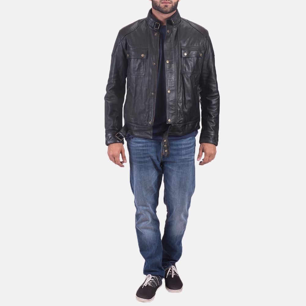 Mens Krypton Black Leather Jacket 3