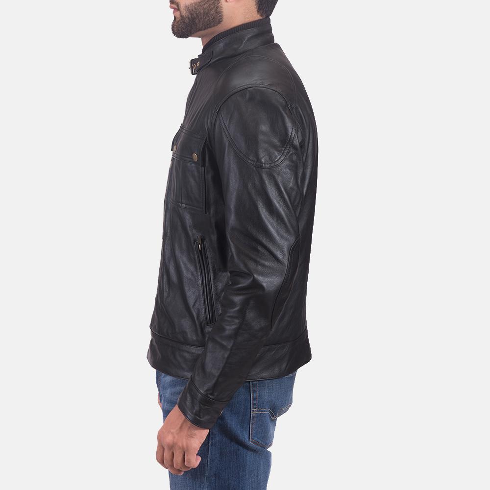 Mens Krypton Black Leather Jacket 5