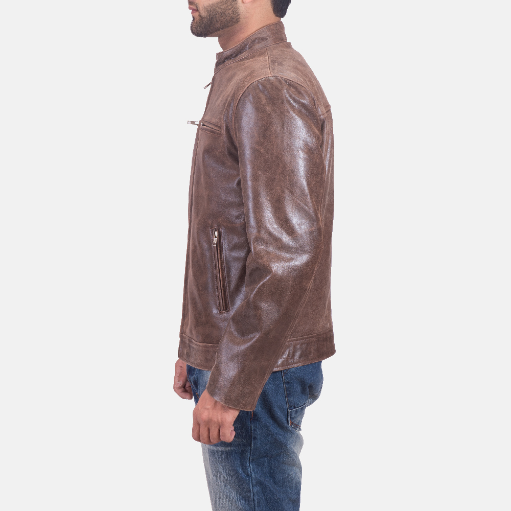 Mens Latte Brown Leather Jacket 5