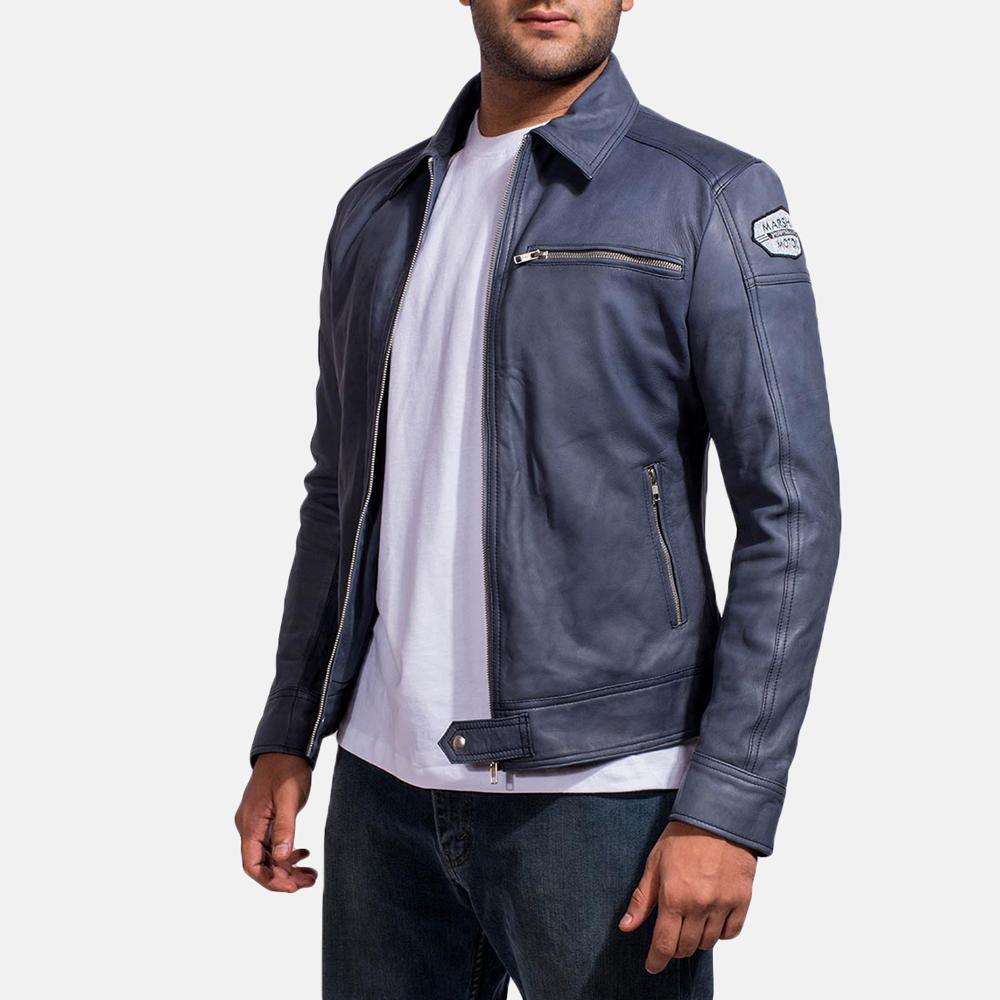 Mens Lavendard Blue Leather Biker Jacket 3