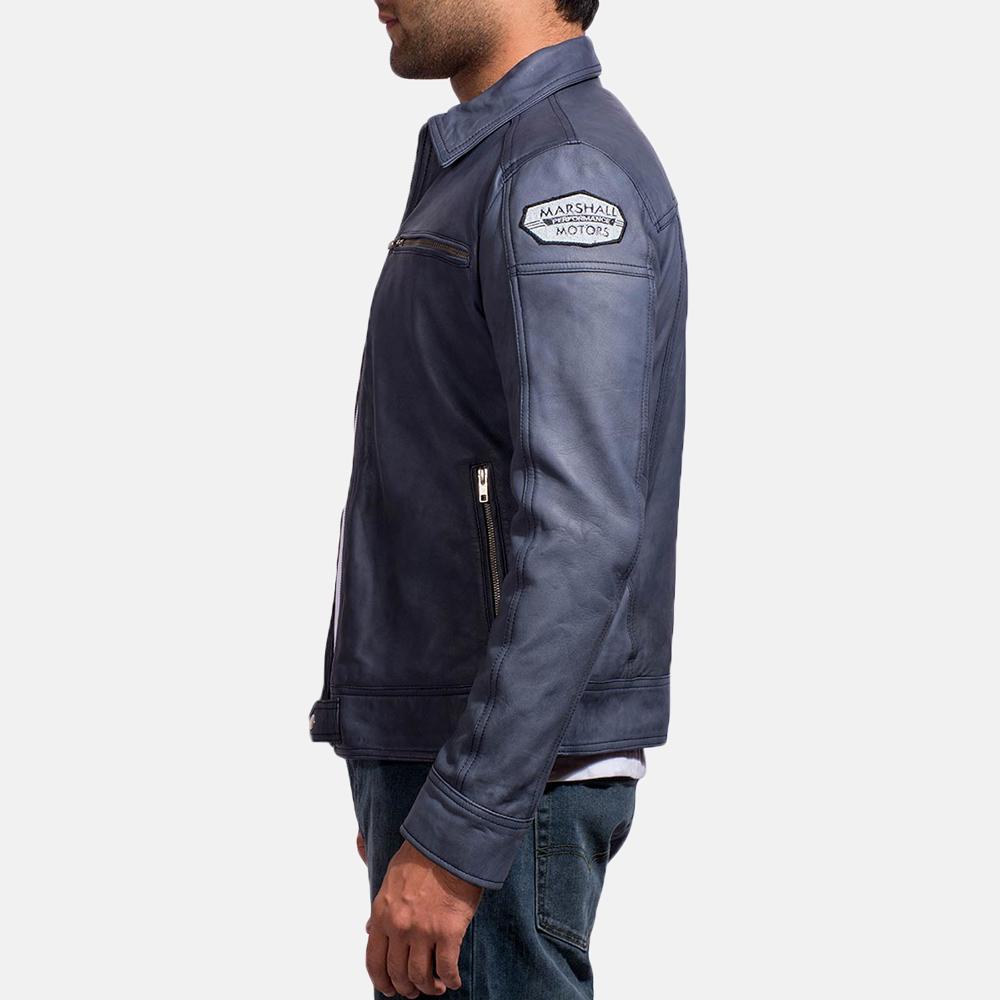 Mens Lavendard Blue Leather Biker Jacket 4
