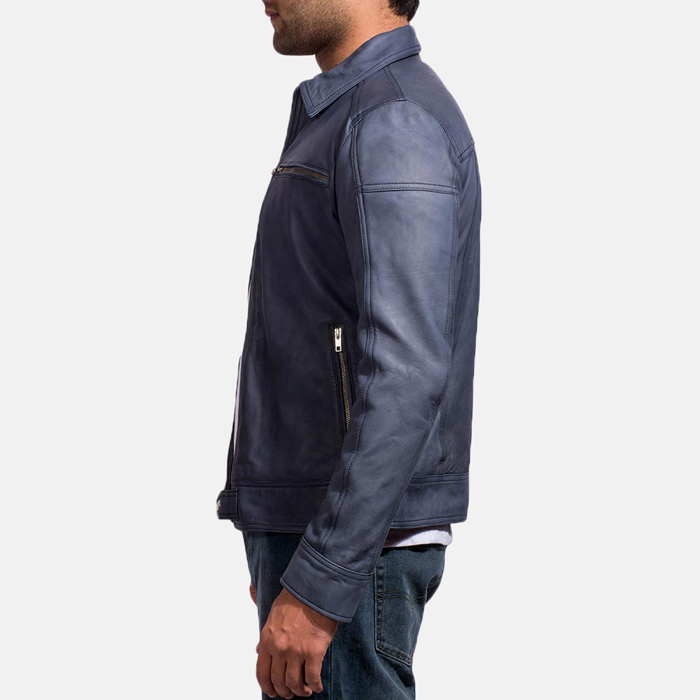 Mens Lavendard Blue Leather Biker Jacket 4