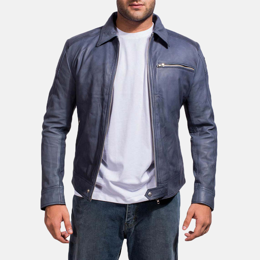 Mens Lavendard Blue Leather Biker Jacket