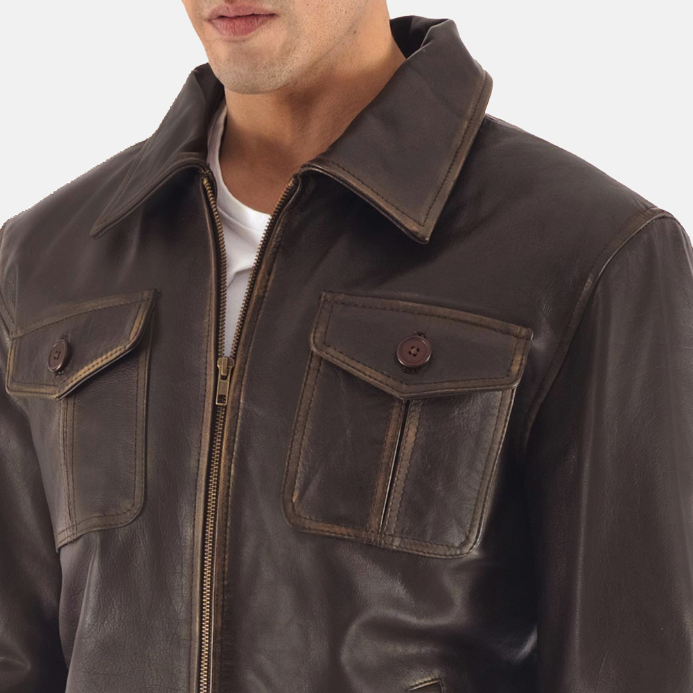 Mens Aaron Brown Leather Bomber Jacket 7