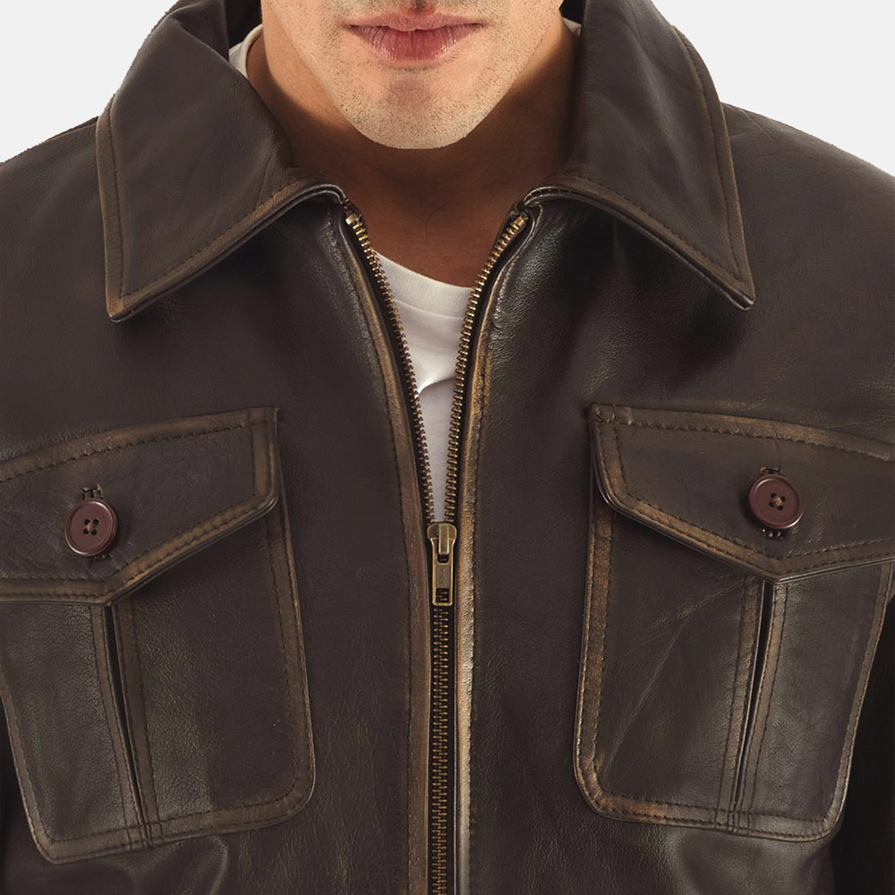Mens Aaron Brown Leather Bomber Jacket 4