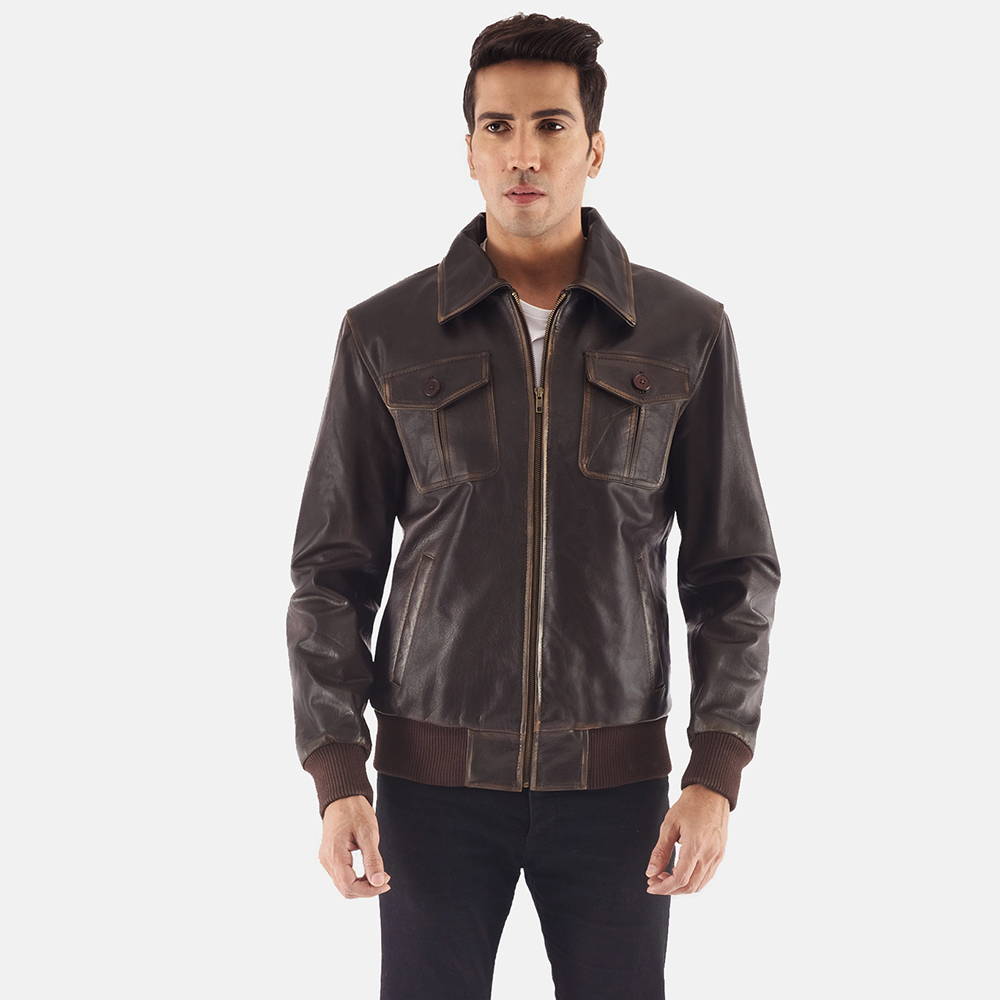Mens Aaron Brown Leather Bomber Jacket 6 - Mens Aaron Brown Leather Bomber Jacket
