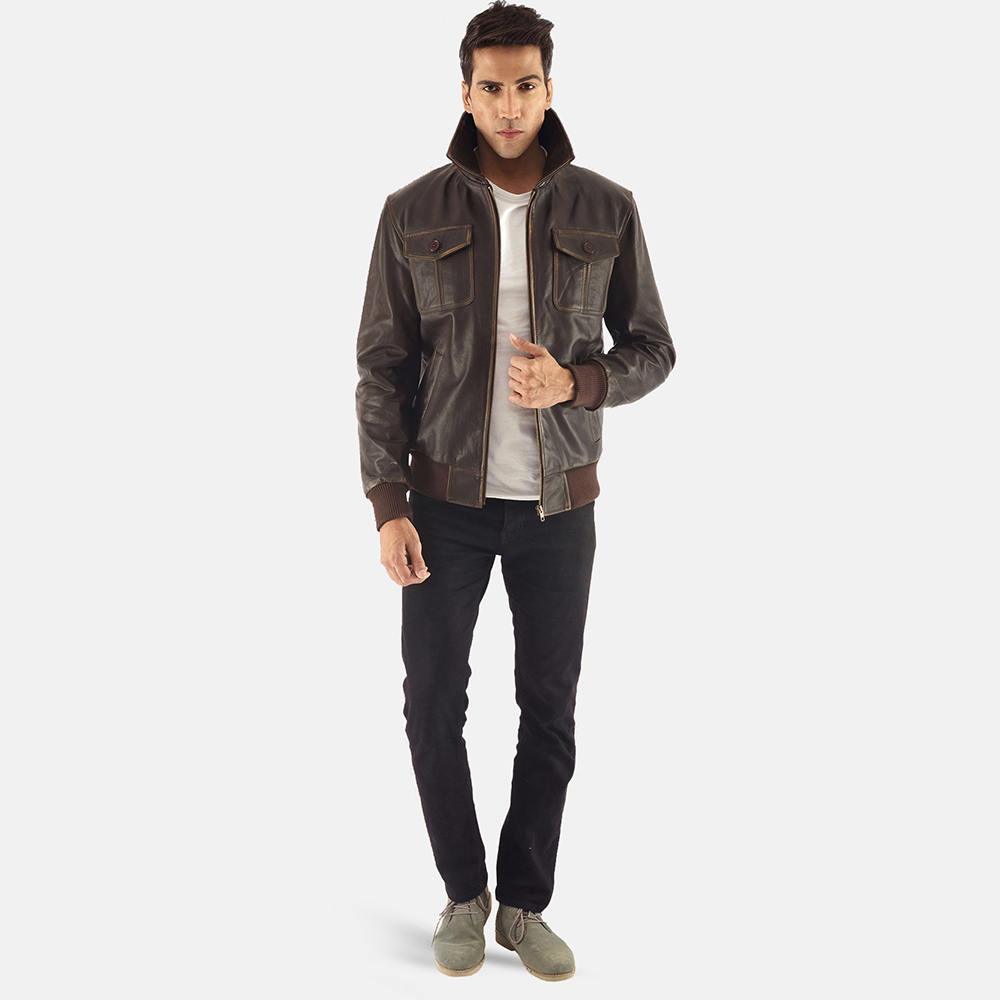 Mens Aaron Brown Leather Bomber Jacket 1