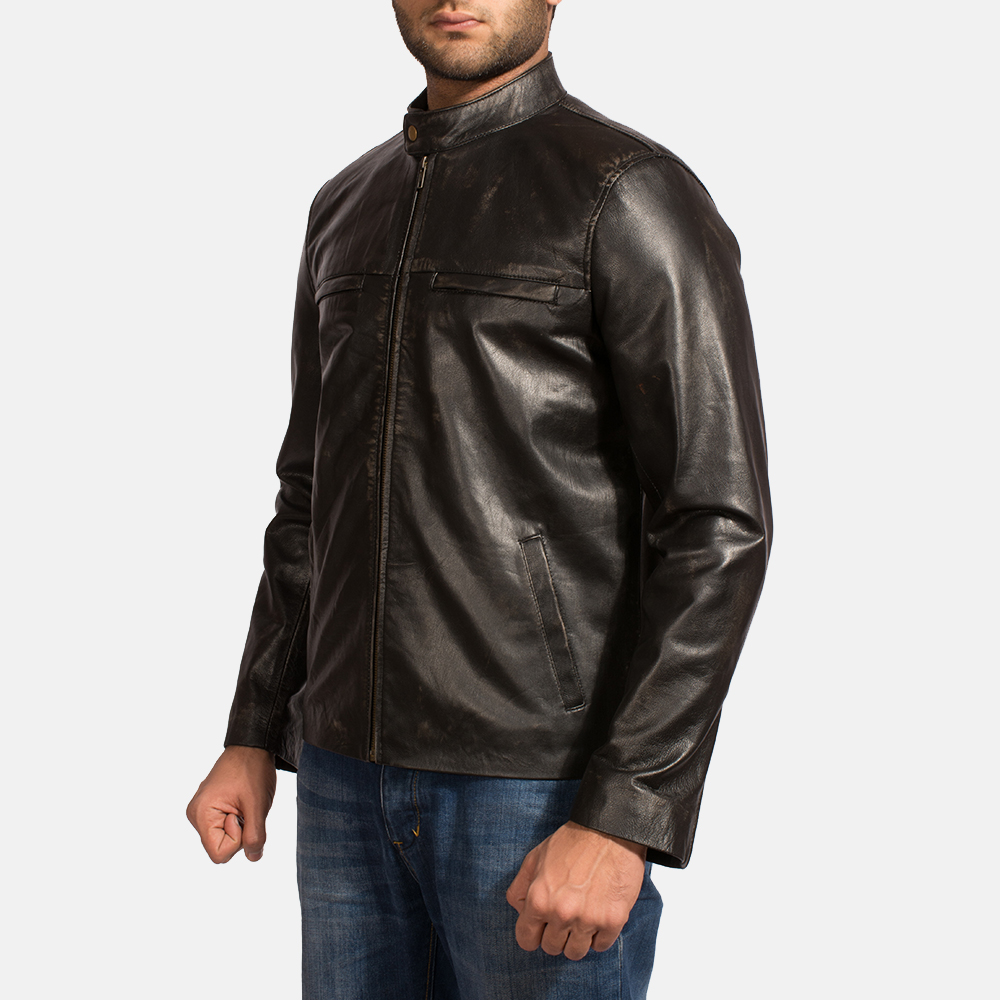 Mens Liberty Black Leather Biker Jacket 3
