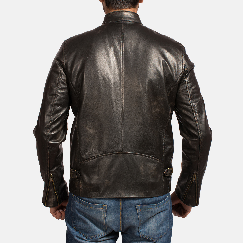 Mens Liberty Black Leather Biker Jacket 4